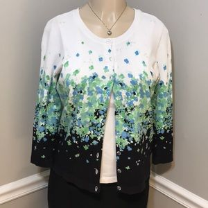 CHARTER CLUB Navy & Green Floral Cardigan Size M